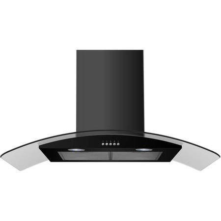 Russell Hobbs RHGCH901B 60cm Wide Glass and Black Chimney Cooker Hoods