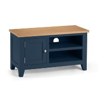 Julian Bowen Small Blue TV Unit with Oak Top - Richmond Range