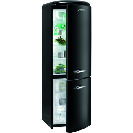 gorenje rk60359obk retro style freestanding fridge freezer right hand hinge black appliances. Black Bedroom Furniture Sets. Home Design Ideas