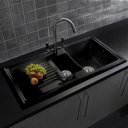 Reginox RL401CB 1.5 Bowl Reversible Inset Ceramic Sink Black