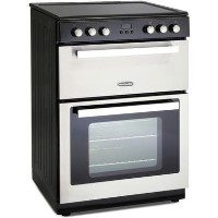 Montpellier RMC61CX 60cm Double Oven Electric Mini Range Cooker - Black Stainless Steel Best Price, Cheapest Prices