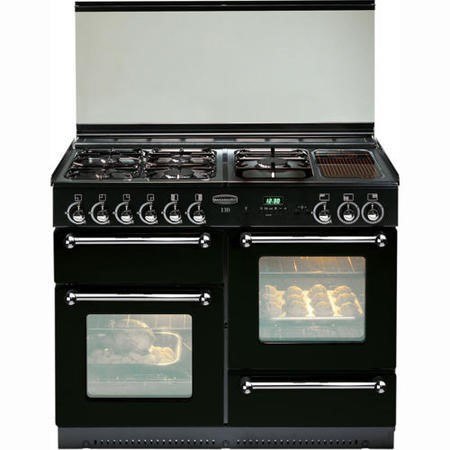 Rangemaster 73100 - 110cm Dual Fuel Range Cooker With Porthole Doors And - Black With Chrome Trim