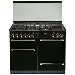 Rangemaster 110cm Natural Gas Range Cooker with Solid Doors in Black and Chrome
