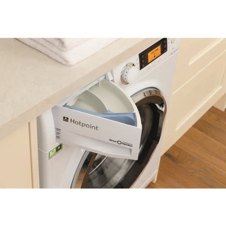 Hotpoint RPD10657JX Ultima S-Line 10kg 1600rpm Freestanding Washing Machine White With Brushed Steel Door