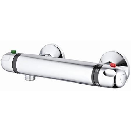 Round Thermostatic Bar Valve with Offset Outlet