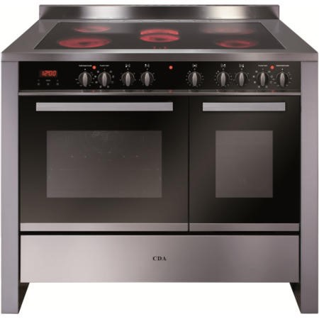 CDA RV1061SS 100cm Wide Double Oven Electric Range Cooker With Ceramic Hob - Stainless Steel