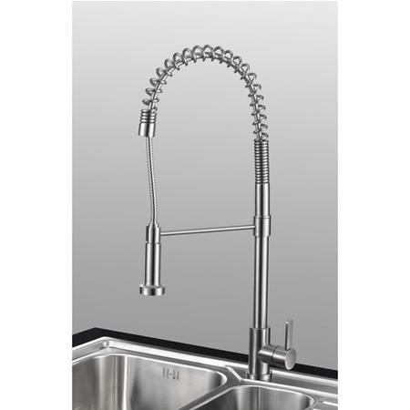 GRADE A1 - Taylor & Moore Royal Spring Neck Single Lever Stainless Steel Kitchen Tap with Pull out Nozzle Spray