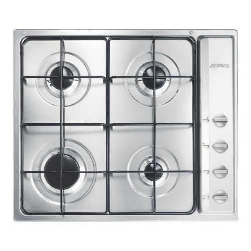Smeg S64S Cucina 60cm Stainless Steel 4 Burner Gas Hob with New ...