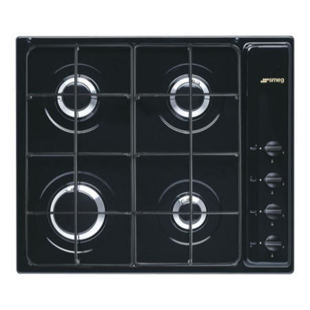 Smeg S64SN Cucina 60cm Black 4 Burner Gas Hob With New Style Controls