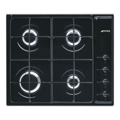 S64SN Smeg S64SN Cucina 60cm Black 4 Burner Gas Hob With New Style Controls