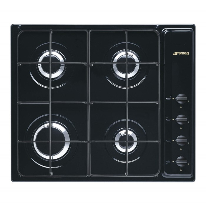 Smeg S64SN Cucina 60cm Black 4 Burner Gas Hob With New Style ...