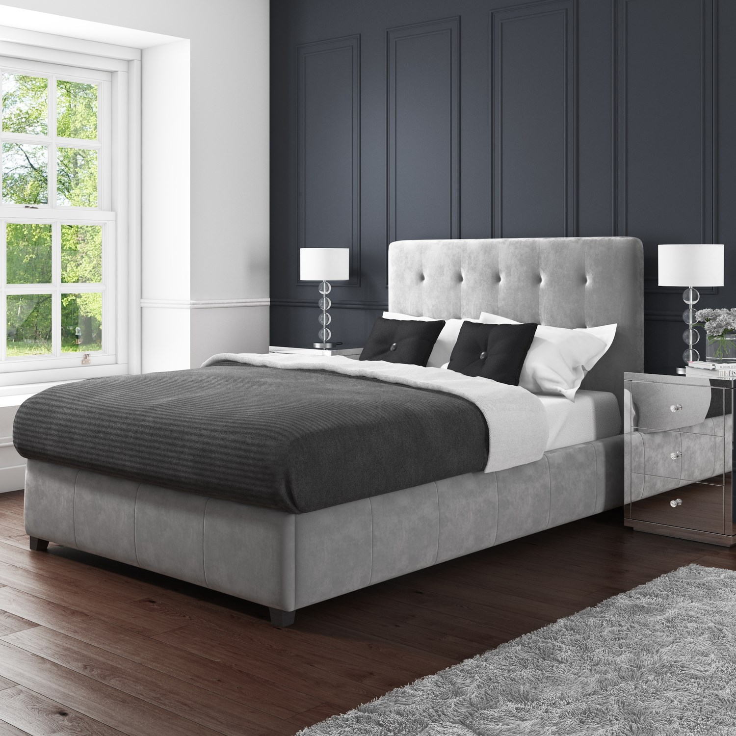 Admirable Details About Grey Velvet King Size Ottoman Storage Bed Safina Range Pabps2019 Chair Design Images Pabps2019Com