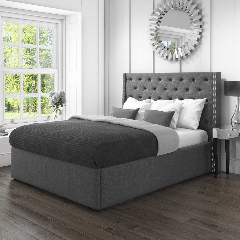 Ottoman Bed In Dark Grey Velvet Fabric King Size 5ft Wing Back Safina Range Ebay