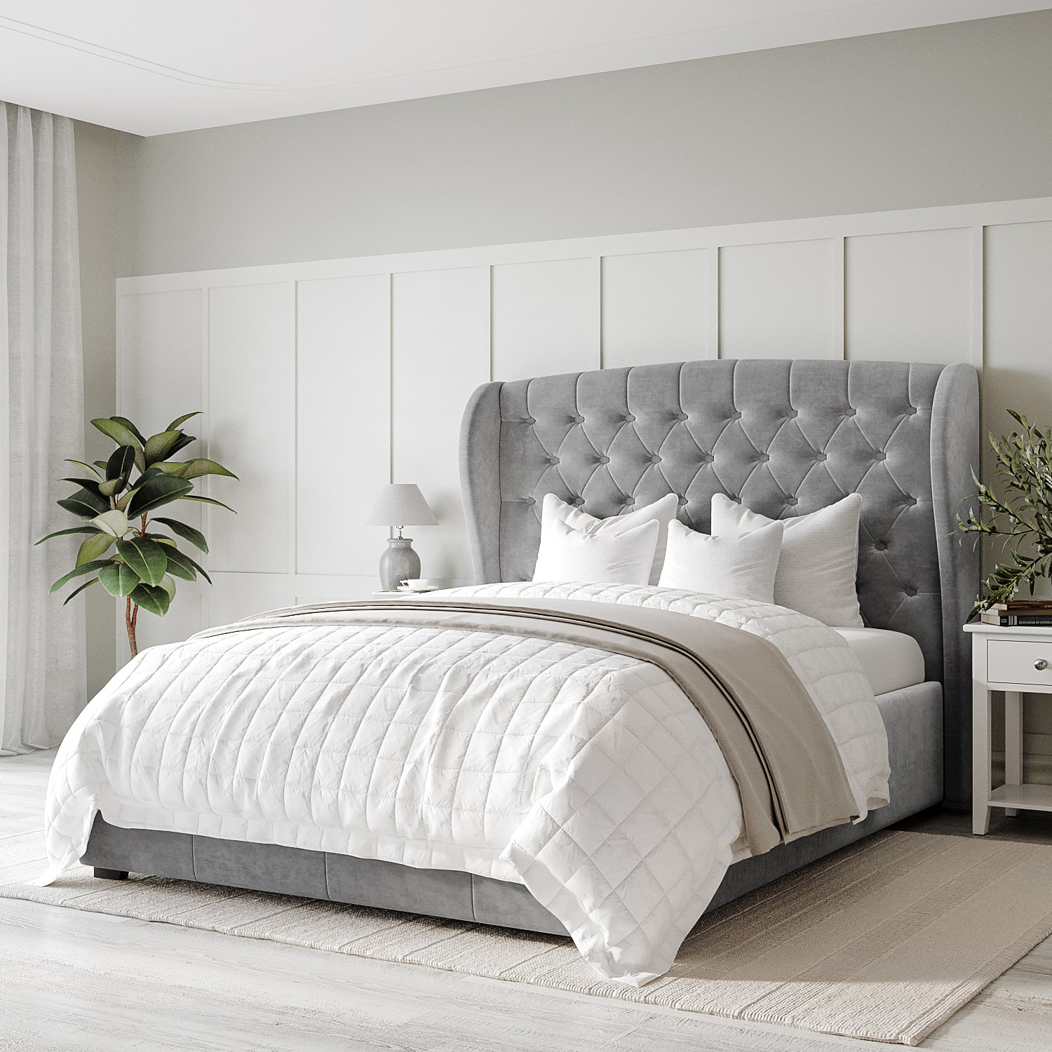 Double Grey Velvet Wing Back Ottoman Storage Bed Safina