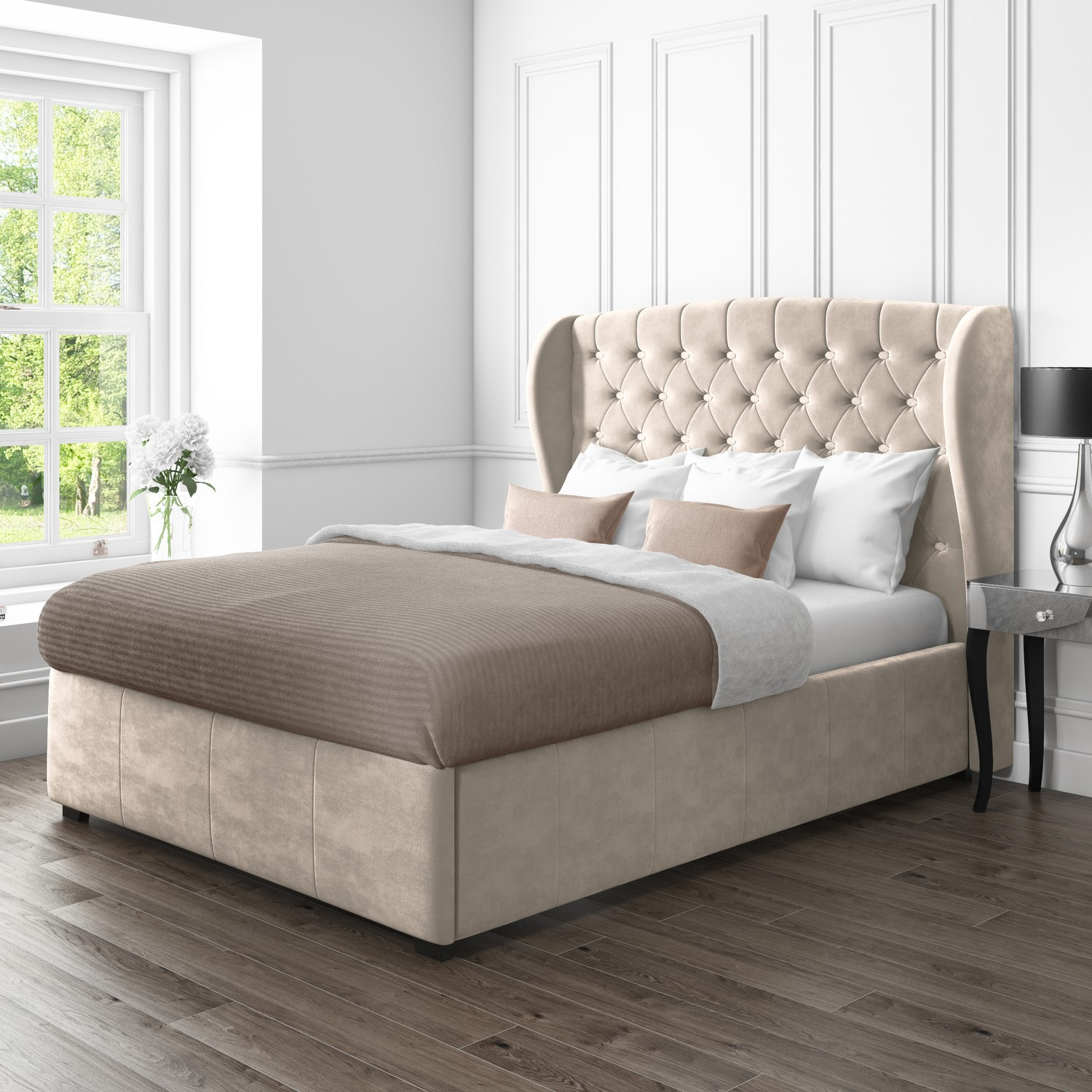 Remarkable Details About Safina Beige King Size Wing Back Ottoman Bed In Velvet Machost Co Dining Chair Design Ideas Machostcouk