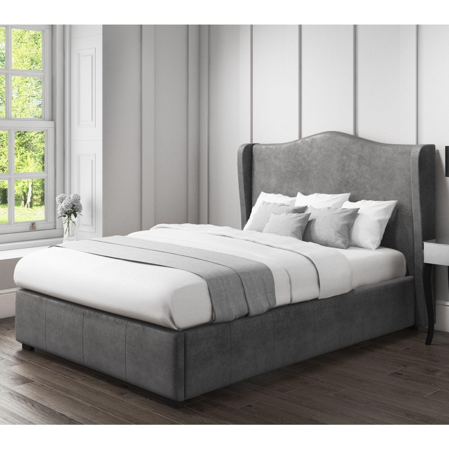 Ottomans Ellis Dark Grey Velvet Finish Storage Chest: Stylish Safina Wing Back King Size Ottoman Bed In Grey