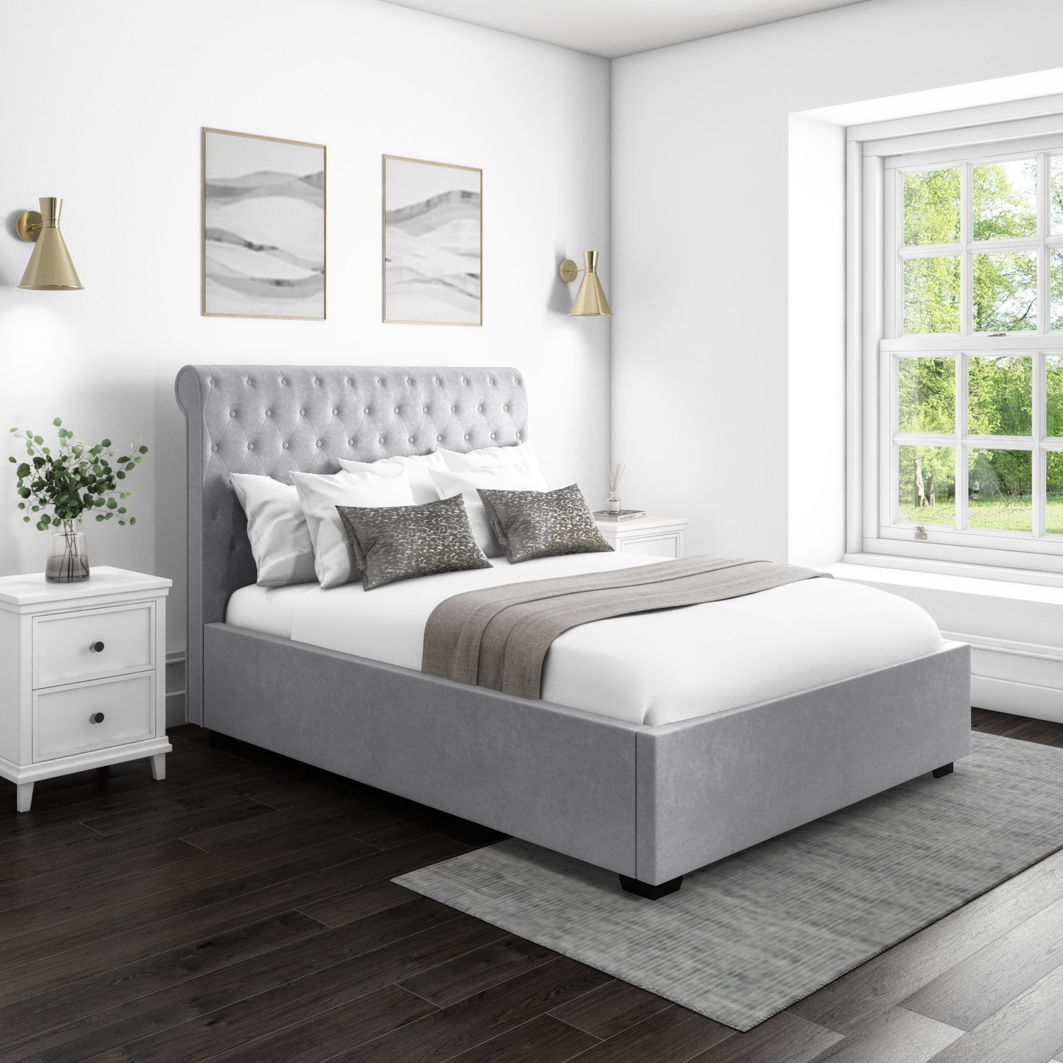 Picture of: Safina Rolltop King Size Ottoman Bed In Silver Grey Velvet Ebay