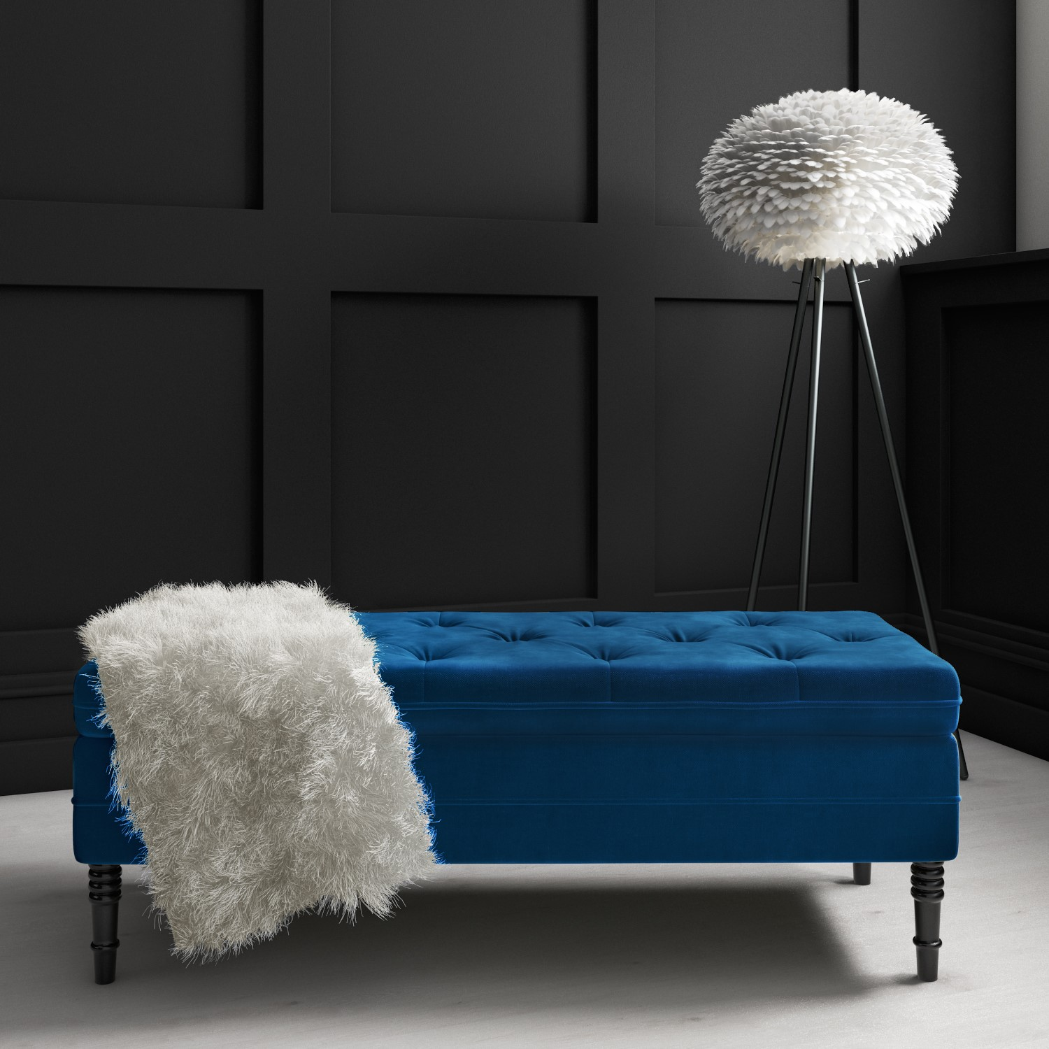 Safina Ottoman Storage Bench In Navy Blue Velvet With Button Detail Saf056 Ebay