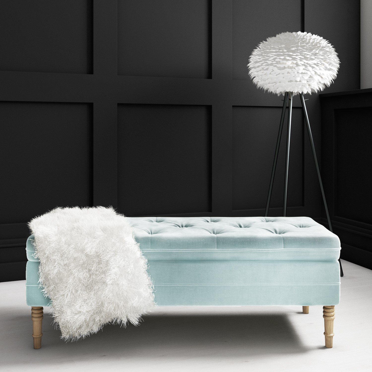 Safina Ottoman Storage Bench In Duck Egg Blue Velvet With Button Detail Saf057 Ebay