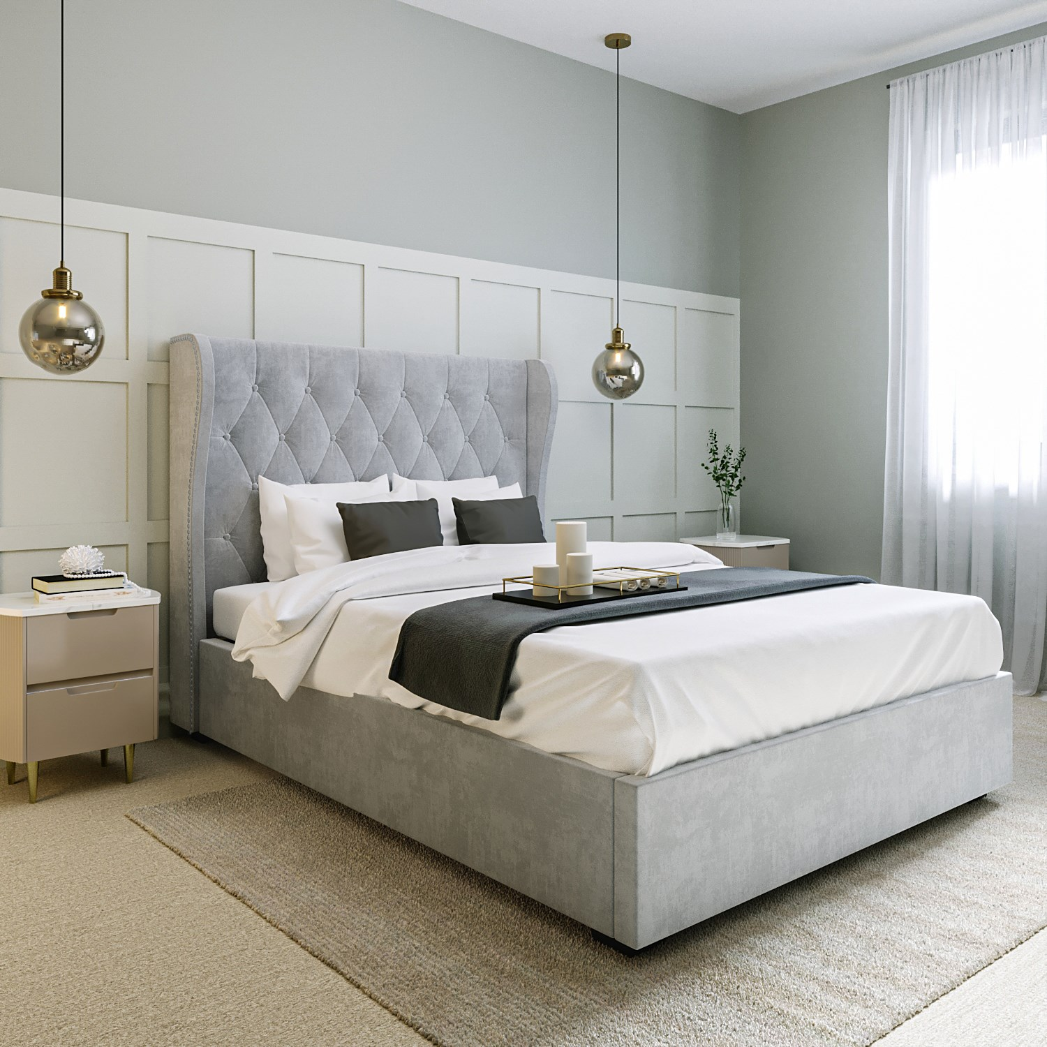 Safina King Size Buttoned Wing Back Ottoman Bed In Silver Grey Velvet Ebay