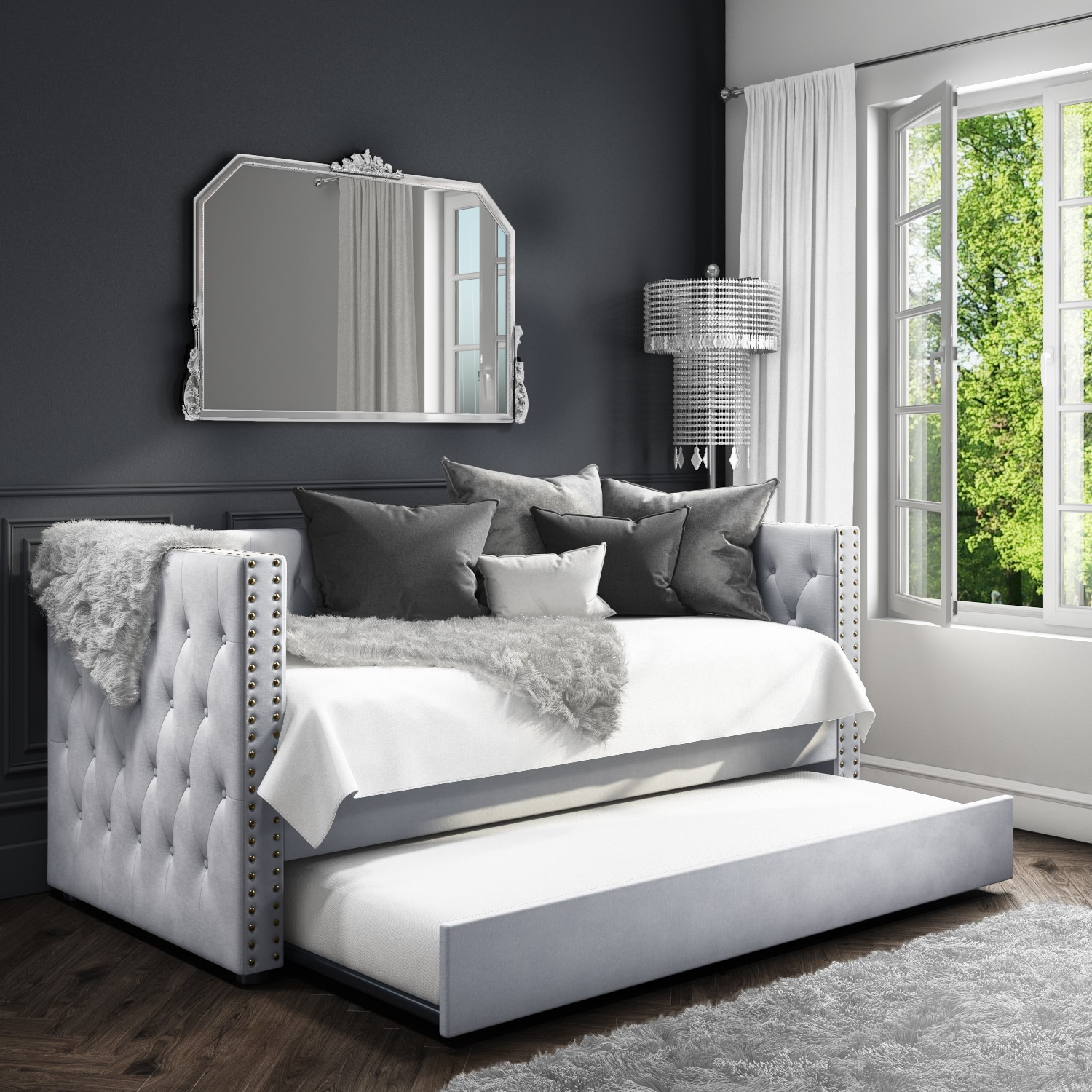 Magnificent Details About Sacha Velvet Sofa Bed In Silver Grey Trundle Bed Included Bun Sah001 76477 Machost Co Dining Chair Design Ideas Machostcouk