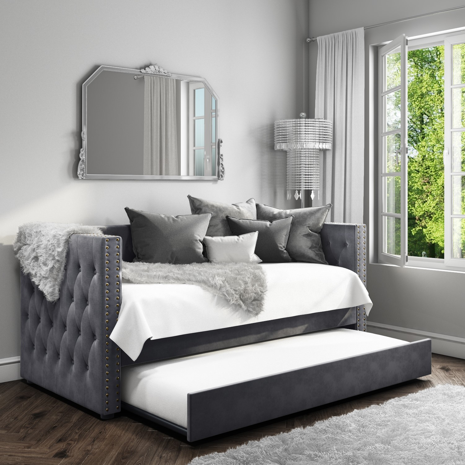 new product a408f 8f8d8 Details about Sacha Velvet Day Bed Frame in Anthracite Grey - Trundle Bed  Included