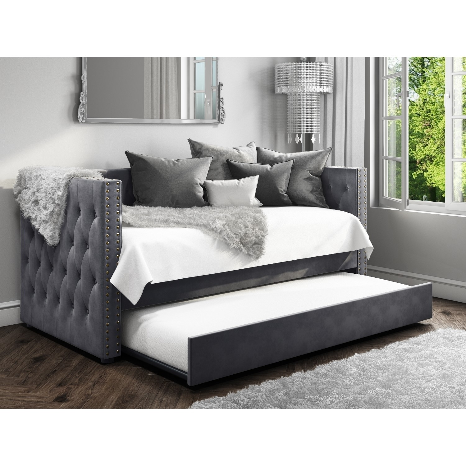 Sacha Sofa Bed In Anthracite Grey Trundle Bed Included Bun Sah002 76478 Ebay