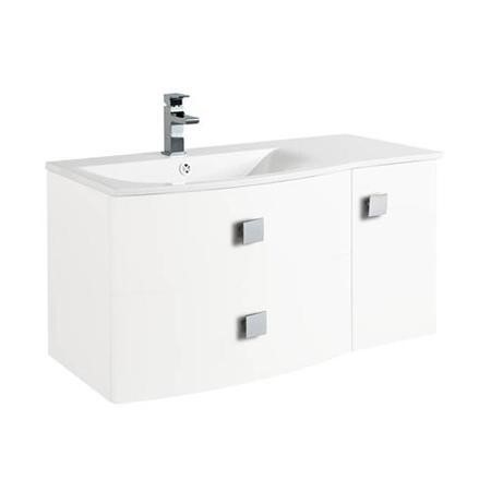 White Wall Hung Bathroom Vanity Unit & Basin Left Handed- W1012 x H428mm