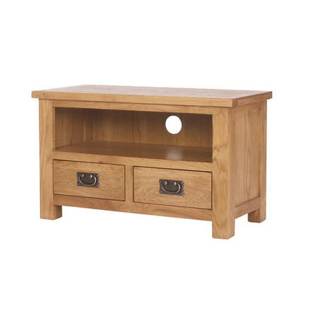 Rustic Saxon Small TV Unit in Solid Oak - TV's up to 31""