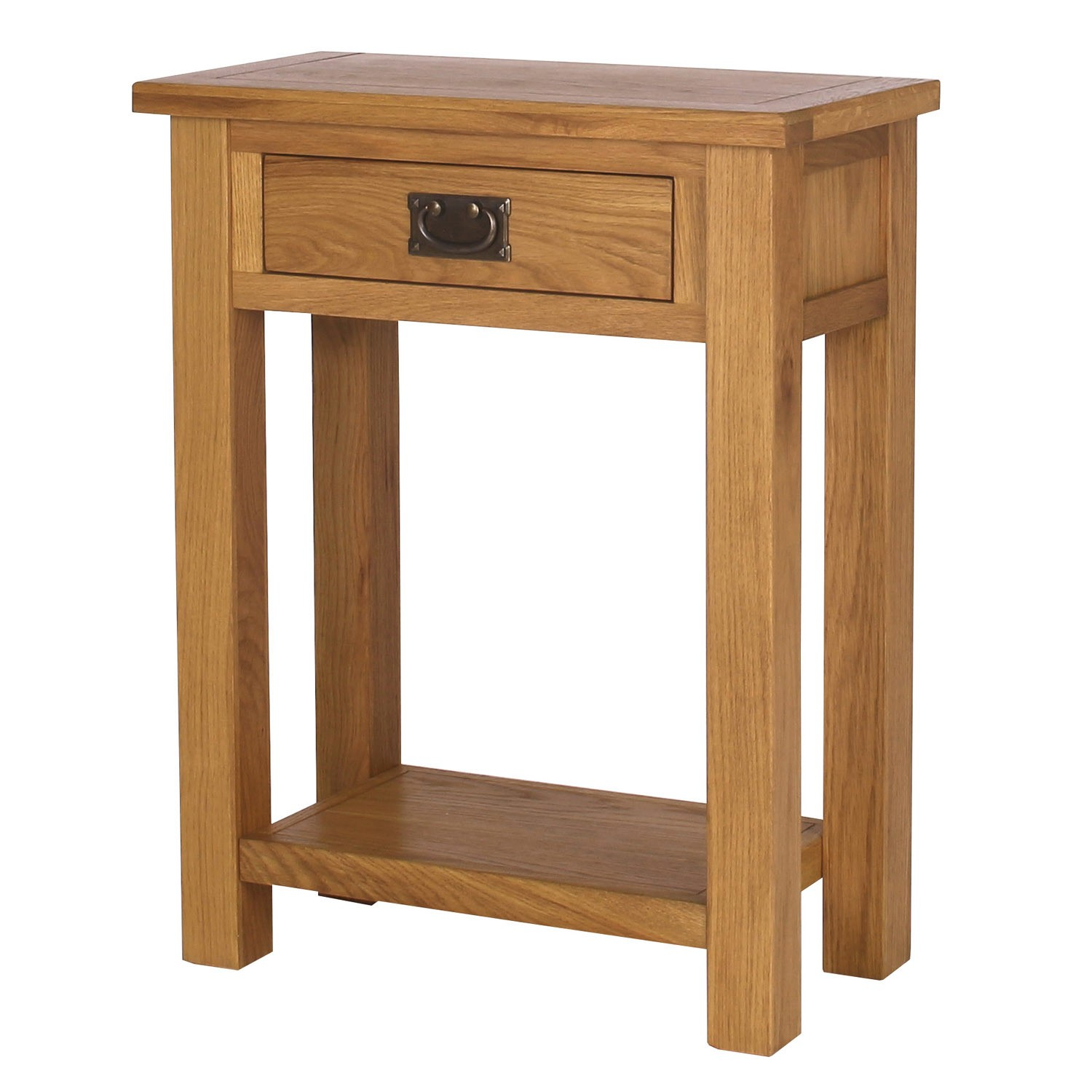 Solid oak narrow console table 1 drawer lower shelf picclick uk - Narrow console table canada ...