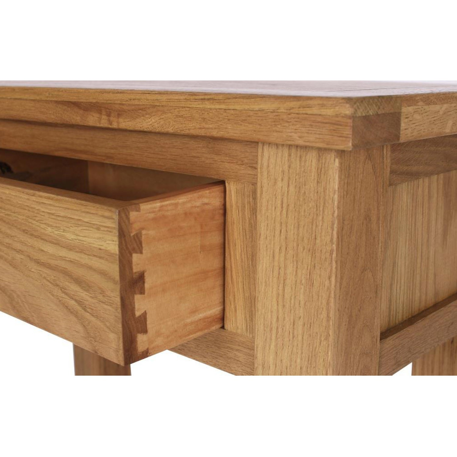 Solid oak narrow console table 1 drawer lower shelf for Narrow console table with shelves