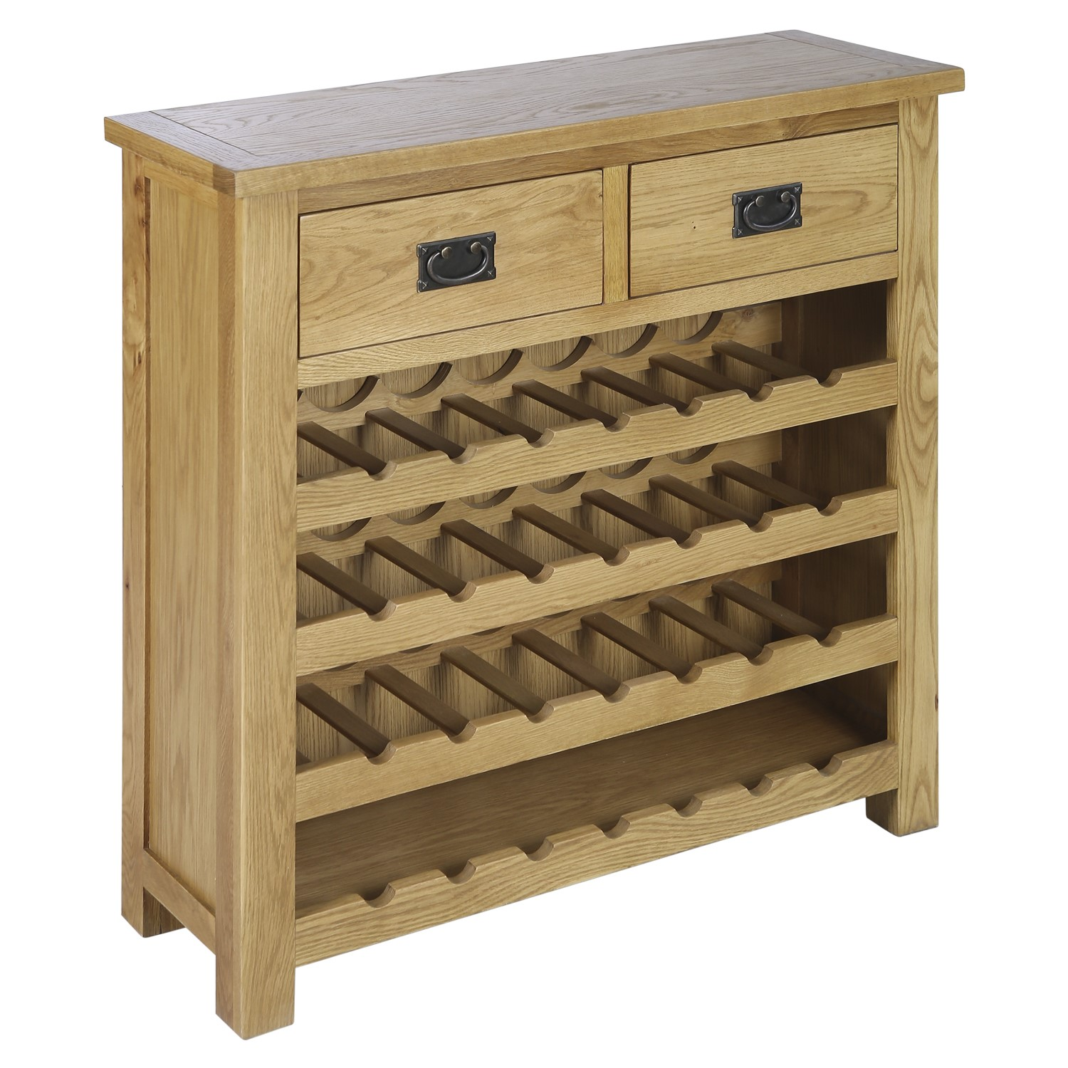 Solid Oak Wine Rack Sideboard with Drawers Rustic Saxon SAX022 5056096010763 eBay