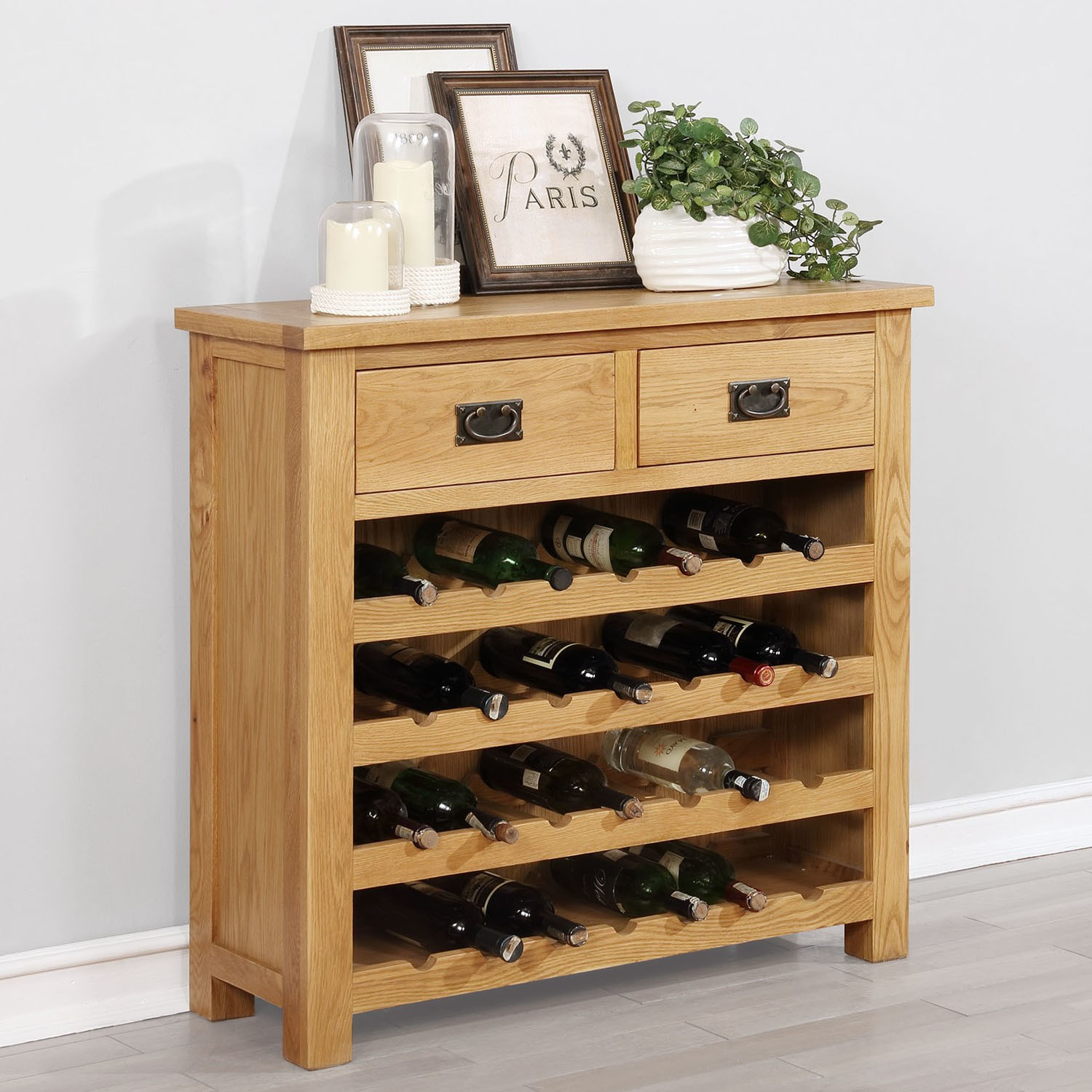 Grade A1 Solid Oak Wine Rack Cabinet With Storage Drawers Rustic S A1 Sax022 Ebay