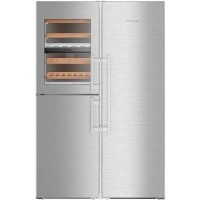Liebherr SBSes8496 NoFrost BioFresh Side-by-side American Fridge Freezer With Wine Cabinet - Stainless Steel Best Price, Cheapest Prices
