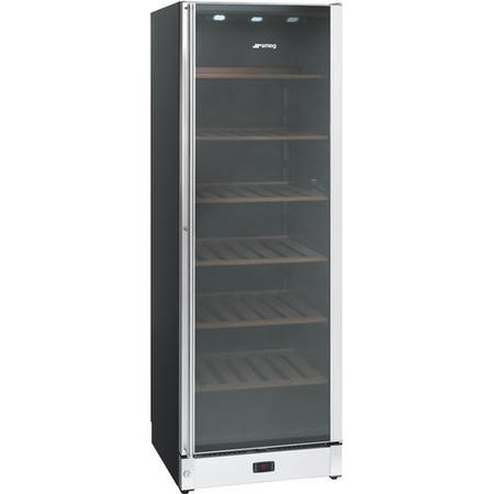 GRADE A2 - Smeg SCV115A 60cm Wine Cooler w/ Glass Door Black & S/S Right Hand Hinge 197  Bottle Capacity