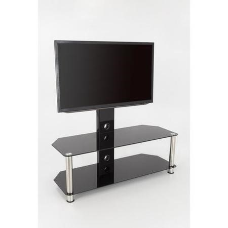"AVF SDCL1140 TV Stand SDC Shaped Combi Plus CM for TVs up to 65"" - Chrome and Black"
