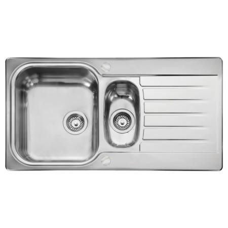 Leisure Sinks SE9502POL Seattle Stainless Steel 950x508 1.5 Bowl 2 Tapholes Polished Reversible