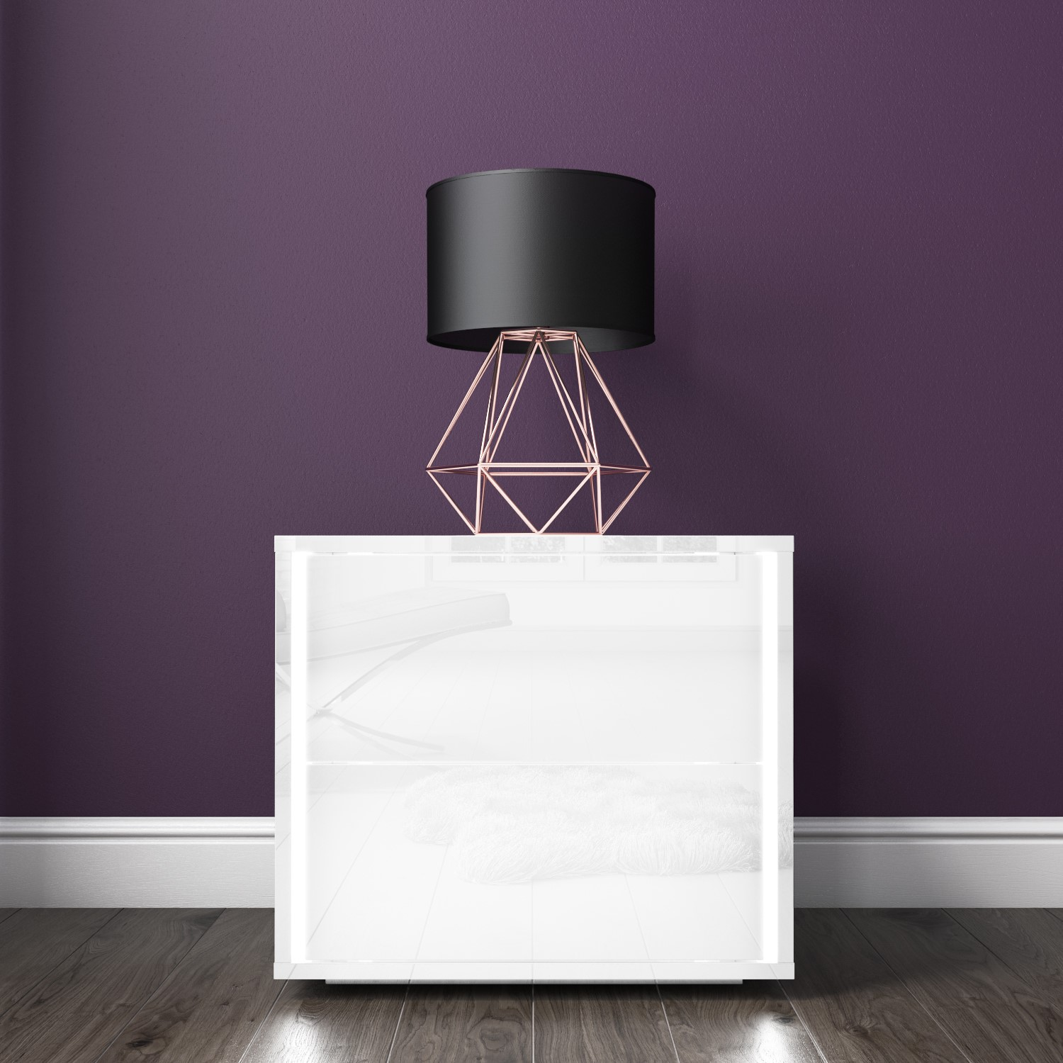 pretty nice 1c28a f4a78 Details about White High Gloss Bedside Table LED Lights 2 Drawer Push to  Open Nightstand