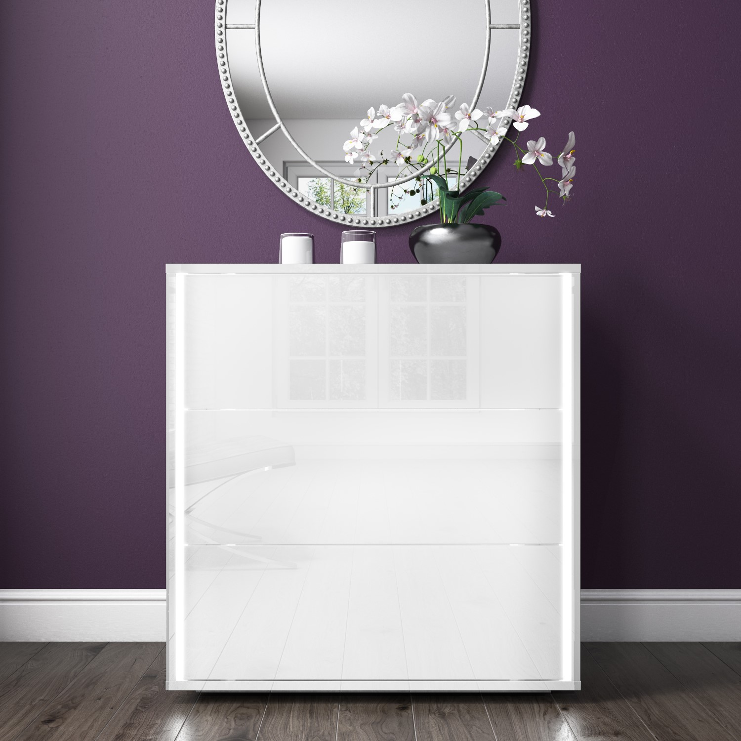 online store 17863 f98a9 Details about White High Gloss Chest of Drawers LED Lights 2 Drawer Bedroom  Cabinet