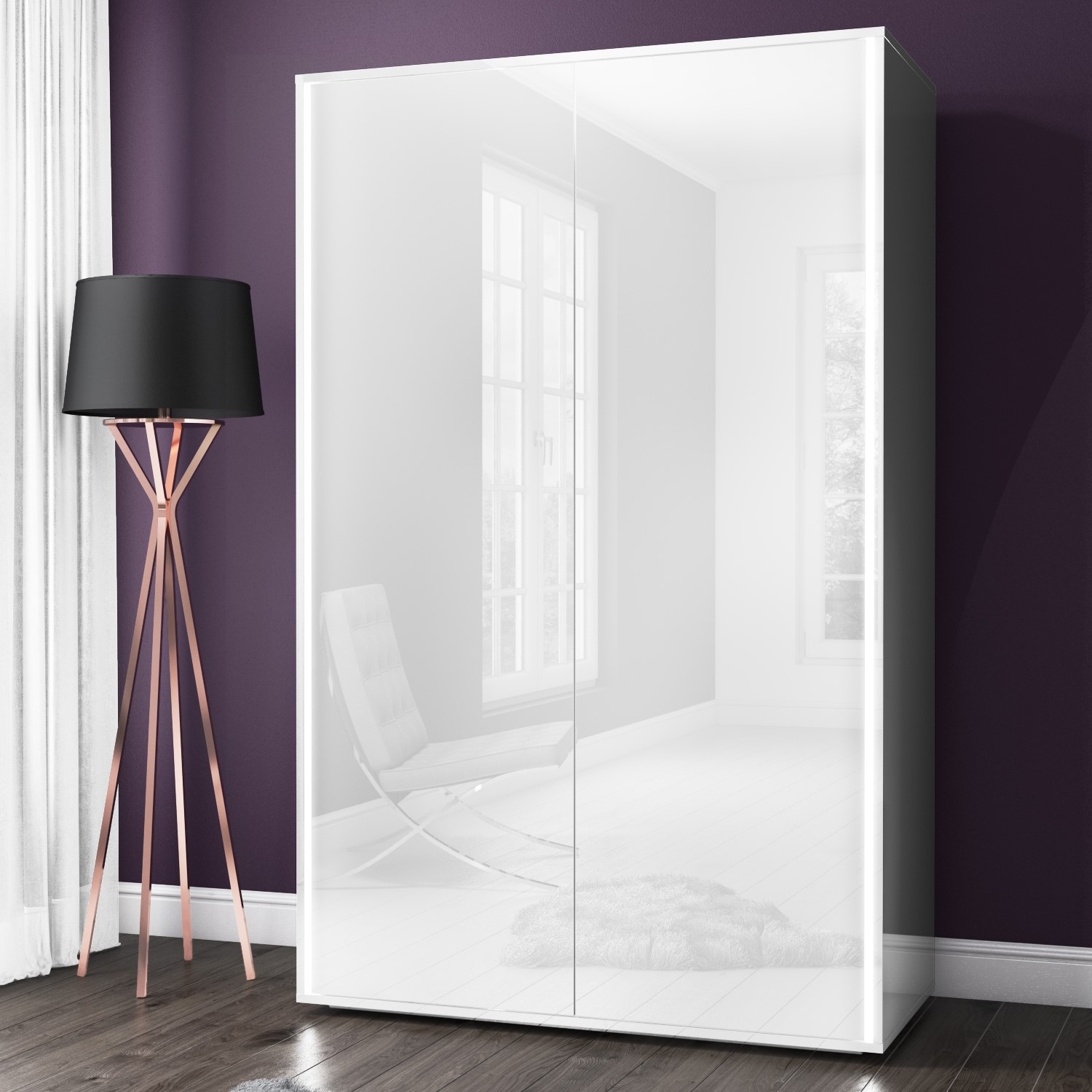 White High Gloss 2 Door Double Wardrobe Led Lights Modern Bedroom 5056096007480 Ebay