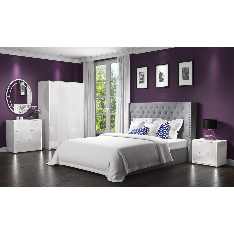 White High Gloss 2 Door Double Wardrobe LED Lights Modern