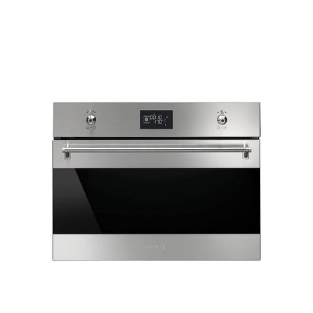 Smeg SF4390VCX Classic Compact Combination Steam Oven Stainless Steel And Dark Glass