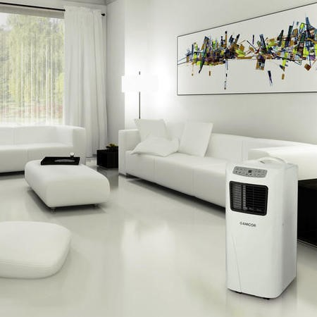 GRADE A2 - Light cosmetic damage - Amcor SF8000E slimline portable Air Conditioner - great around the home in rooms up to 18 sqm