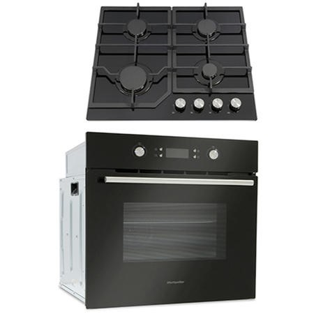 Montpellier SFOP94MFGG Multifunction Oven And Four Burner Gas-on-glass Hob Pack - Black