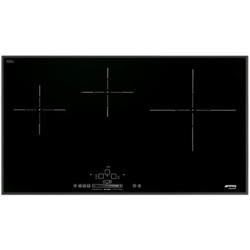 Smeg SIH5935B Slim 90cm 3 Zone Angled Edge Glass Induction Hob With Touch Controls Black