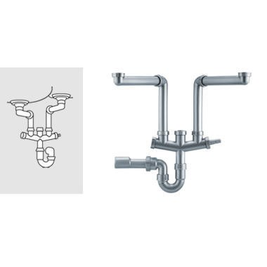 GRADE A1 - Franke Siphon II Plumbing Kit For Double Bowl Sinks