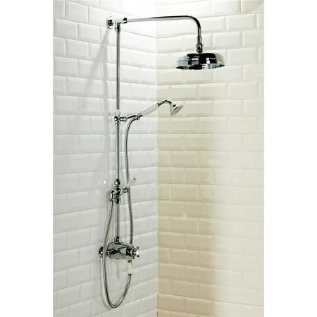 Traditional Round Riser Rail Shower with Diverter & Slide Rail Kit