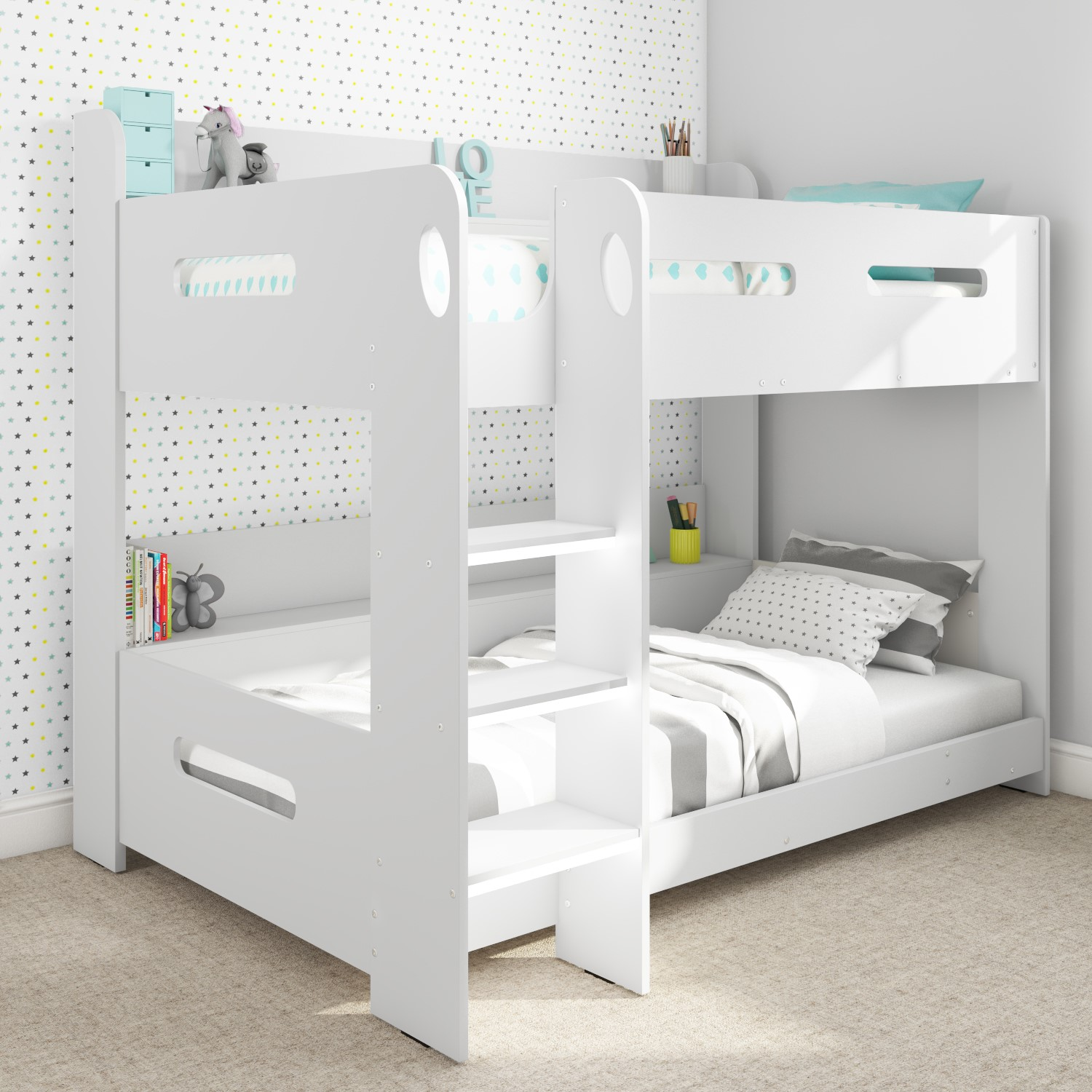 Picture of: Modern Kids White Wooden Bunk Bed Storage Shelves Ebay