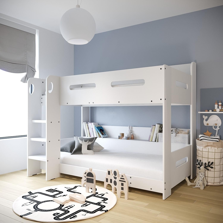 Modern Kids White Wooden Bunk Bed Storage Shelves 5060388566210 Ebay