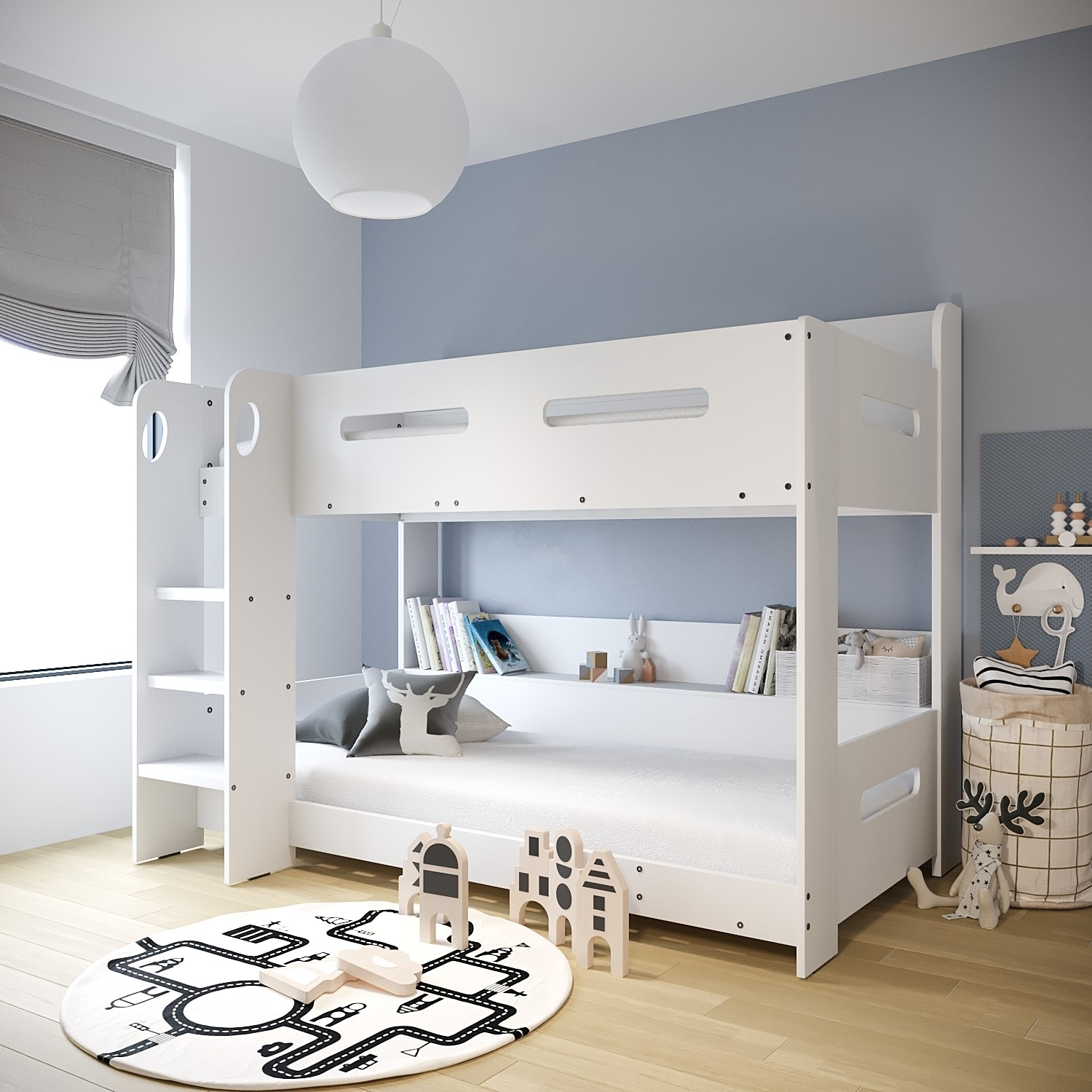 Details About Modern Kids White Wooden Bunk Bed Storage Shelves